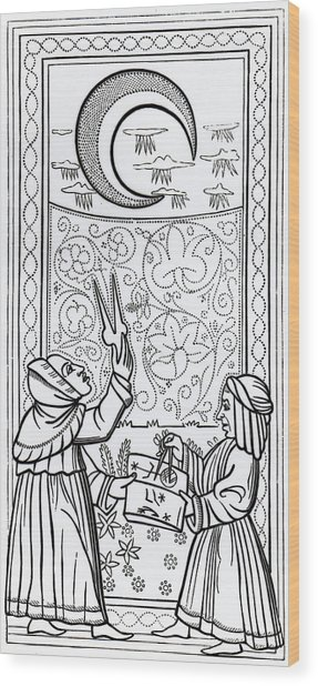 The Moon  Tarot Card Wood Print
