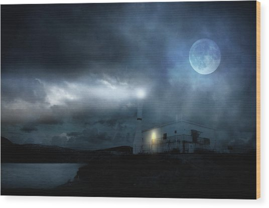 The Moon Touches Your Shoulder Wood Print