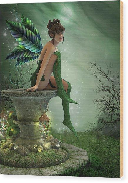The Moonlight Fairy Wood Print