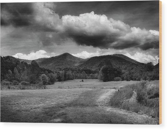 The Mountains Of Western North Carolina In Black And White Wood Print