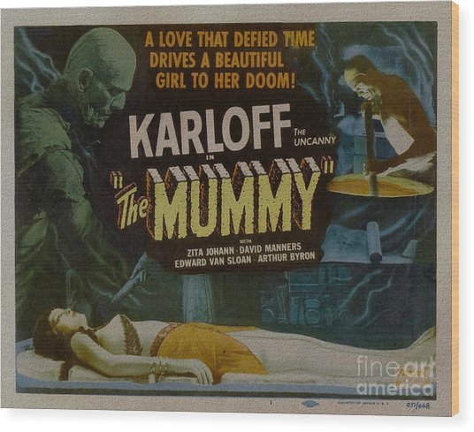 The Mummy 1929 Poster Boris Karloff Wood Print