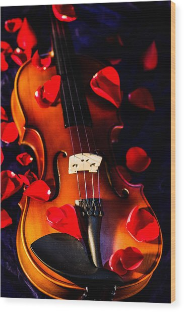 The Musical Rose Petals Wood Print