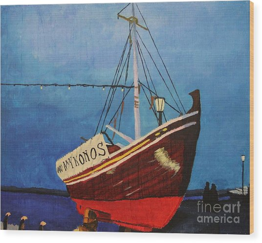 The Mykonos Boat Wood Print