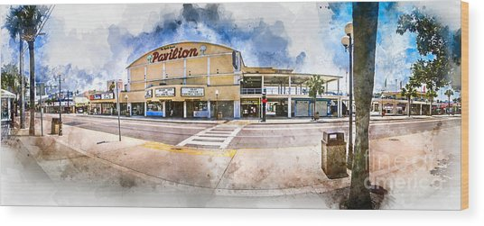 The Myrtle Beach Pavilion - Watercolor Wood Print