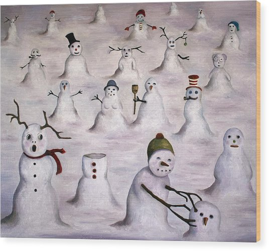 The Mystery Revealed On Snowman Hill Wood Print