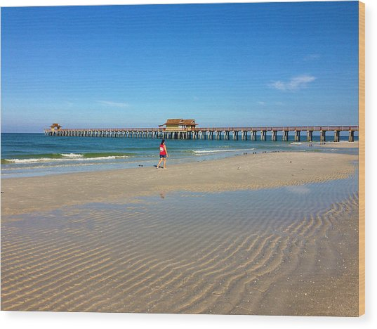 The Naples Pier At Low Tide Wood Print