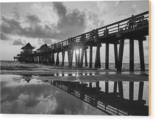 Naples Pier At Sunset Naples Florida Black And White Wood Print