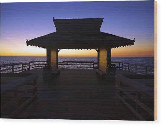 The Naples Pier At Twilight - 02 Wood Print