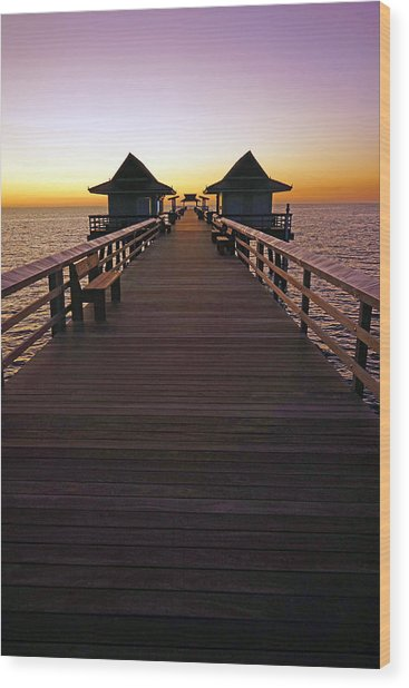 The Naples Pier At Twilight Wood Print
