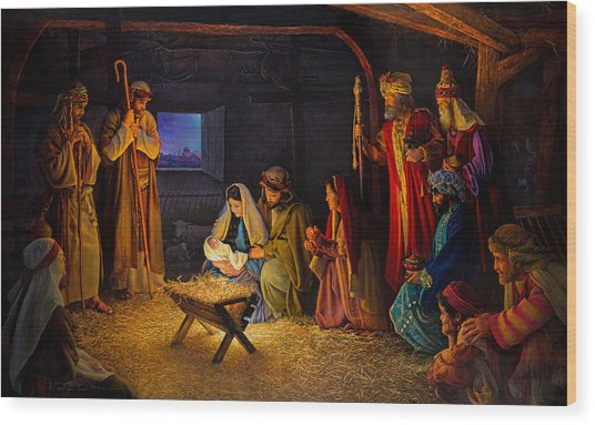 The Nativity Wood Print