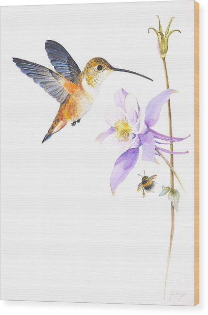 The Nectar Hunt Wood Print by Jany Schindler