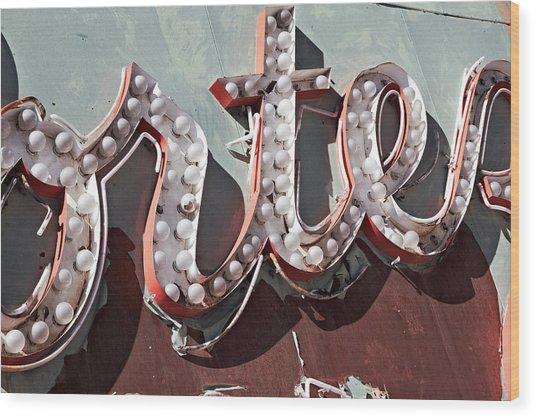 The Neon Sign Boneyard Is The Place Where Old Classic Las Vegas  Wood Print