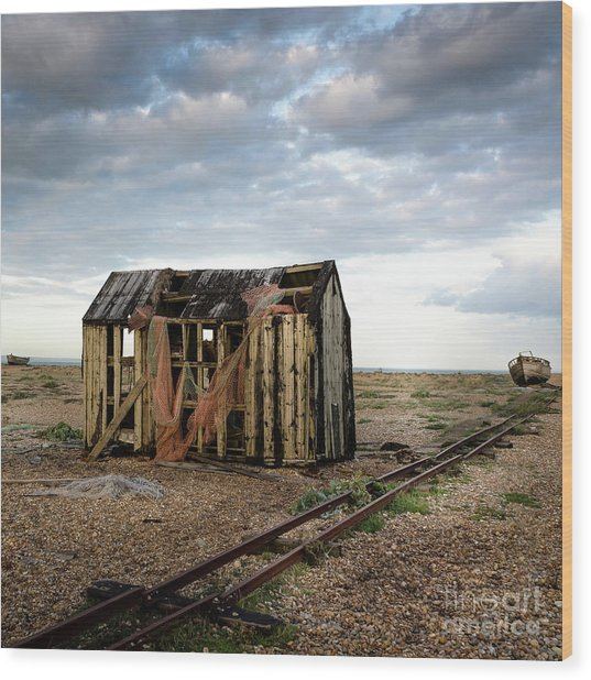 The Net Shack, Dungeness Beach Wood Print