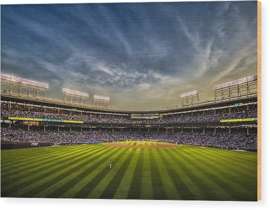 The New Wrigley Field With Pretty Sunset Sky Wood Print