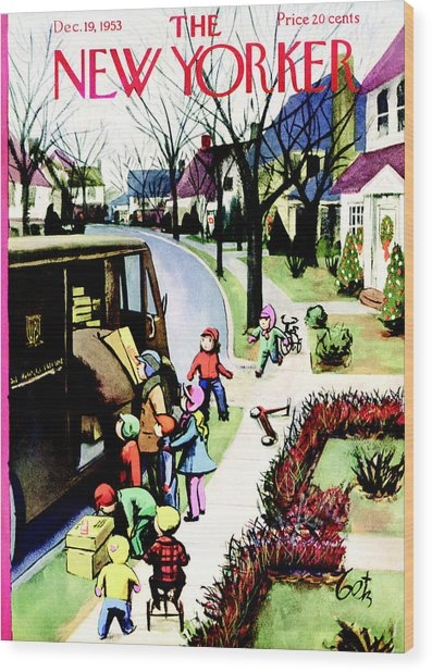 The New Yorker Cover - December 19th, 1953 Wood Print by Conde Nast