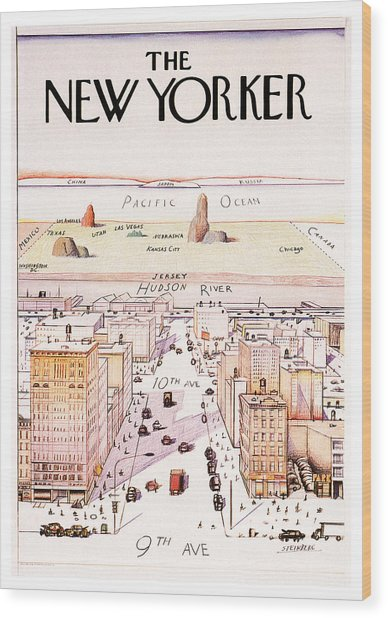The New Yorker - Magazine Cover - Vintage Art Nouveau Poster Wood Print