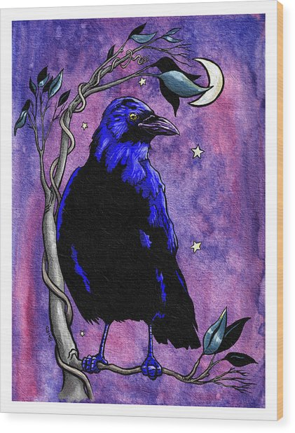 The Night Raven Wood Print by Baird Hoffmire