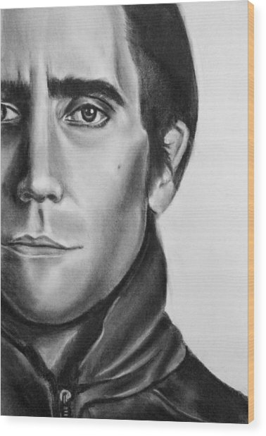 Nightcrawler Movie Art Drawing - Jake Gaalynhaal Charcoal Pencil Drawing - Ai P. Nilson Wood Print