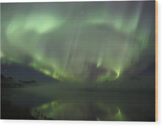 The Northern Lights Over The Denali Highway's Twin Lakes Wood Print
