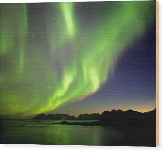 The Northern Lights Wood Print