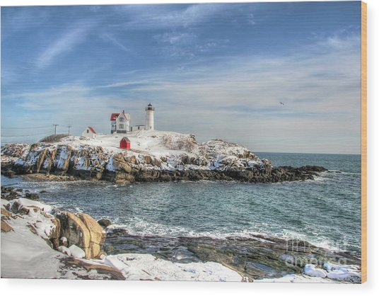 The Nubble Light Wood Print