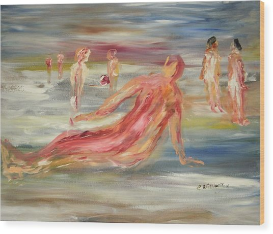 The Nude Beach Wood Print by Edward Wolverton