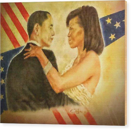 Barack And Michelle Wood Print