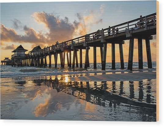 Naples Pier At Sunset Naples Florida Ripples Wood Print