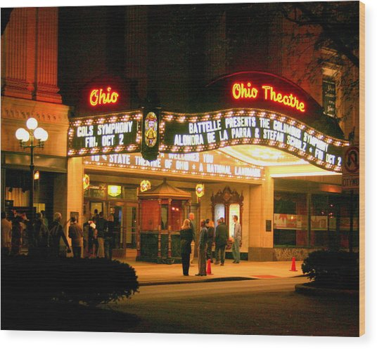 The Ohio Theater At Night Wood Print