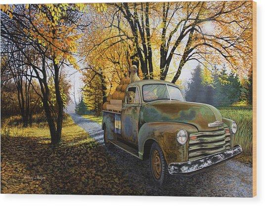 The Ol' Pumpkin Hauler Wood Print