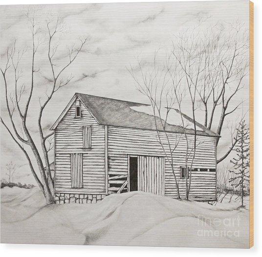 The Old Barn Inwinter Wood Print