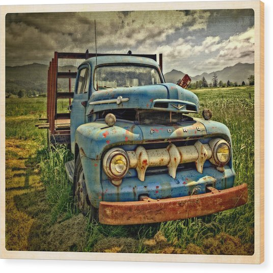 The Blue Classic Ford Truck Wood Print