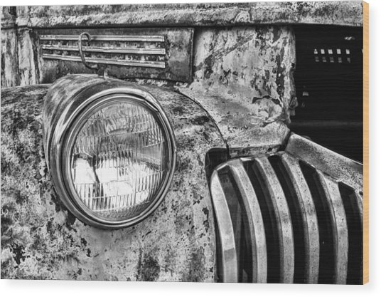 The Old Chevy Truck Black And White Wood Print by JC Findley