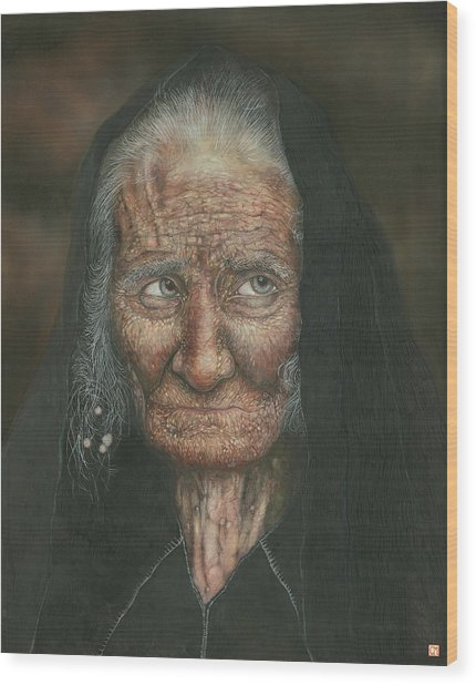 The Old Lady Wood Print by Connor Maguire