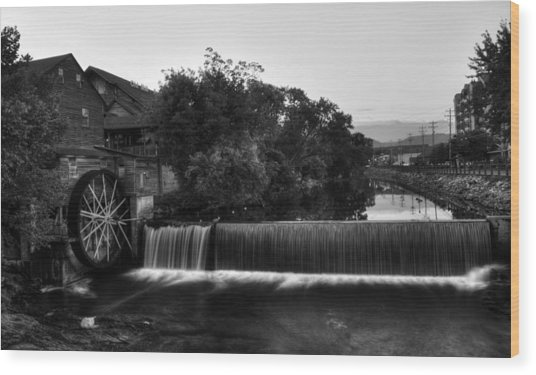 The Old Mill In Black And White Wood Print