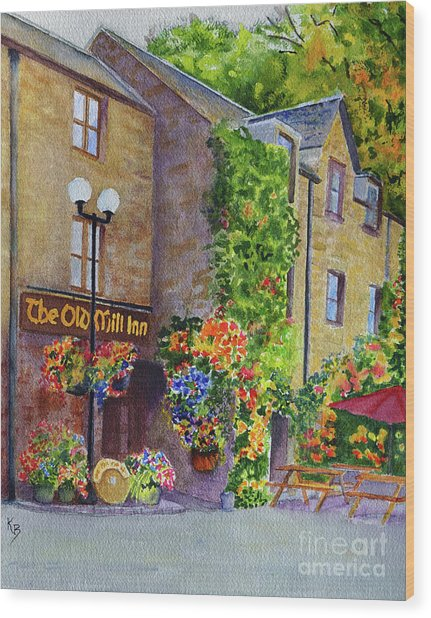 Wood Print featuring the painting The Old Mill Inn by Karen Fleschler