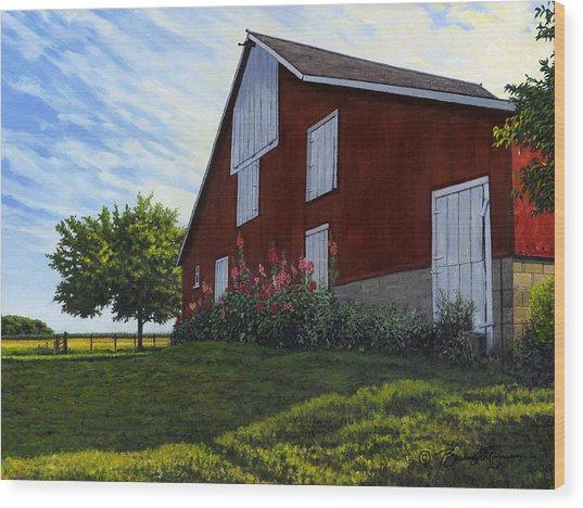 The Old Stucco Barn Wood Print