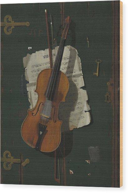 The Old Violin Wood Print