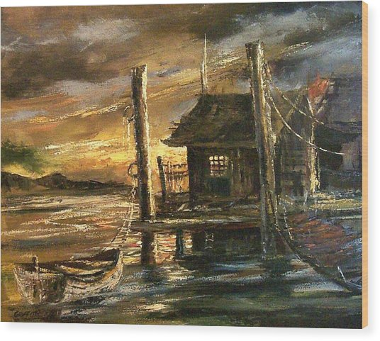 The Old Wharf Wood Print by Don Griffiths