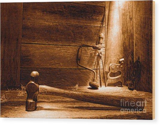 The Old Workshop - Sepia Wood Print