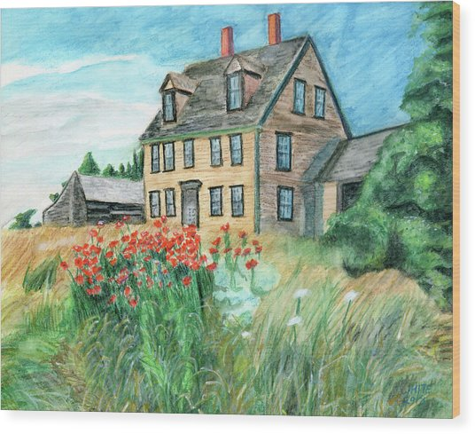 The Olson House With Poppies Wood Print