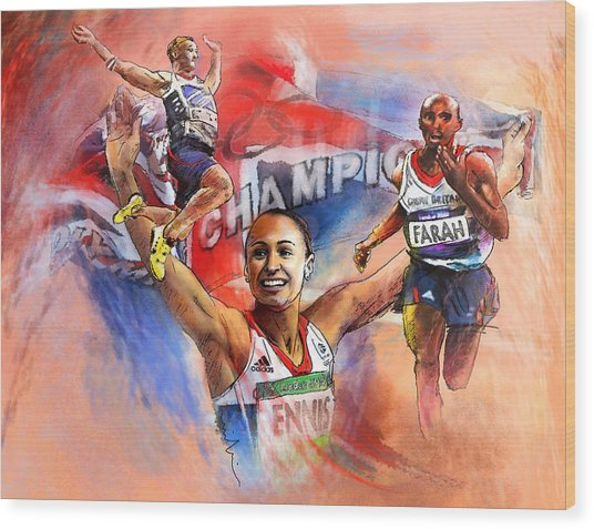 The Olympics Night Of Gold Wood Print