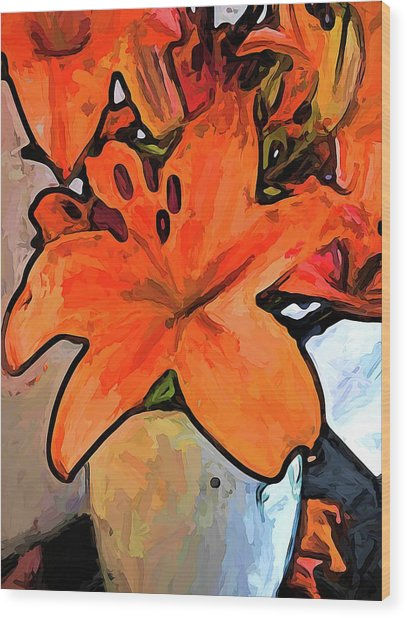 The Orange Lilies In The Mother Of Pearl Vase Wood Print