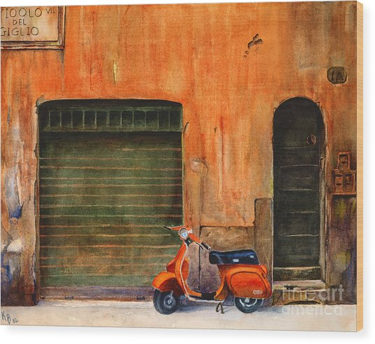 The Orange Vespa Wood Print