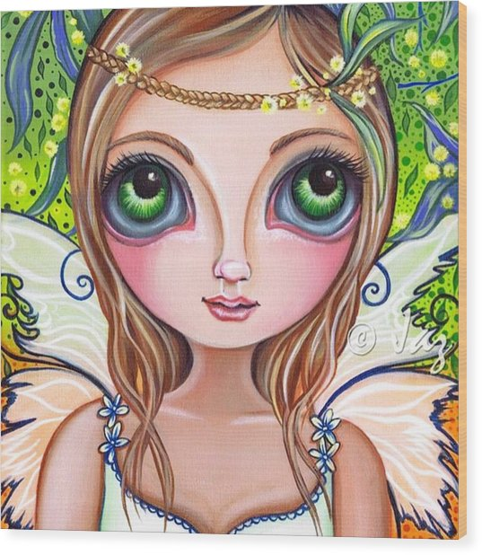 The Original wattle Fairy Painting Wood Print