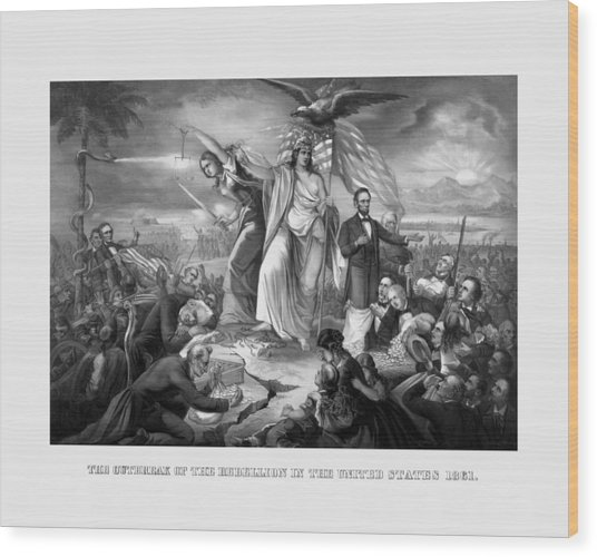 The Outbreak Of The Rebellion In The United States Wood Print