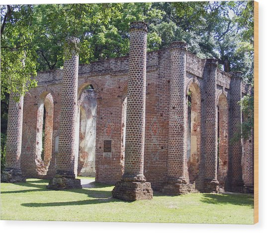 The Palmetto Phoenix Old Sheldon Church Ruins Wood Print by Elena Tudor