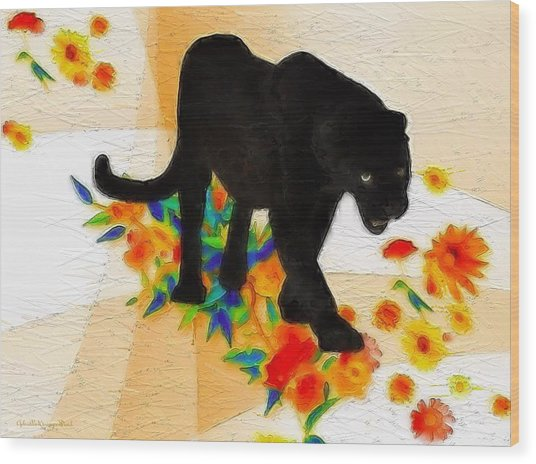 The Panther In The Flowerbed Wood Print