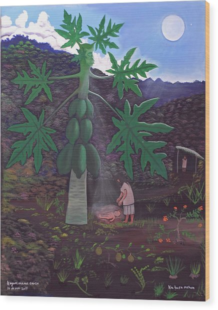 The Papaya Nourishes Life Wood Print