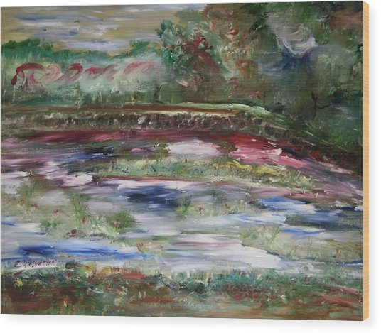 The Park Beneath The Rainbow Wood Print by Edward Wolverton